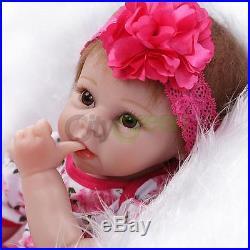22Handmade Lifelike Baby Girl Doll Silicone Vinyl Reborn Newborn Dolls+Clothes
