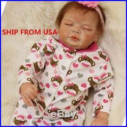22''Handmade Lifelike Baby Silicone Vinyl Reborn Girl Doll Newborn Dolls+Clothes