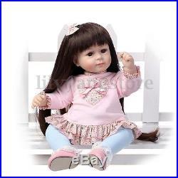 22'' Handmade Lifelike Long Hair Girl Baby Doll Soft Silicone Vinyl Reborn Dolls