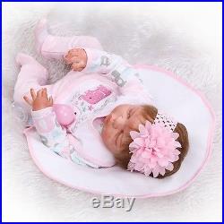 22''Lifelike Handmade Full Silicone Vinyl Reborn Baby Doll Sleeping Newborn Girl