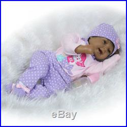 22 Reborn Baby Dolls Lifelike Black African American Silicone Vinyl Smile Girl