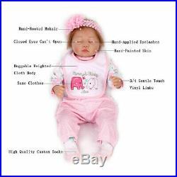 22''Reborn Baby Dolls Lifelike Newborn Handmade Silicone Vinyl Girl Doll+Clothes