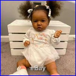 22 Reborn Doll Diaz Reborn Baby Girl Handmade Vinyl Silicone African Doll