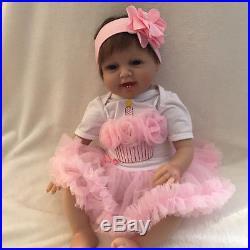 22 Soft Vinyl Silicone Real Life Like Reborn Baby Doll Newborn Dolls Pink Skirt