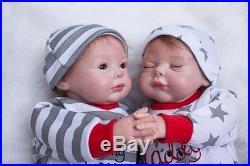 2pcs Lifelike Reborn Boy & Girl Set 22 Dolls Silicone Vinyl Handmade Baby
