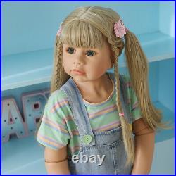 39 Vinyl Full Body Reborn Toddler Doll Girl Realistic Standing Doll Long Blonde