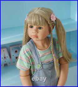 39inch Reborn Toddler Dolls Girl Long Hair Standing Reborn Doll Vinyl Full Body