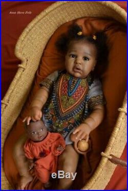 AA black ethnic Reborn baby toddler lifelike art doll prototype artist lIIORA