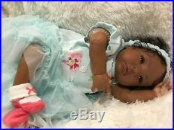 African American Ethnic reborn girl vinyl Shyann bountiful baby OOAK Art doll