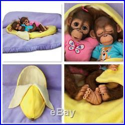 Ashton Drake Frankie & Fiona Lifelike Monkey Baby Doll Twins B