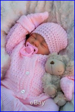 BUTTERFLY BABIES REBORN BABY GIRL DOLL PINK KNITTED SPANISH OUT FIT s016