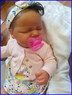 Beautiful Black Reborn Baby Doll vinyl ethnic