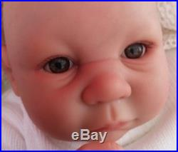 Big Chunky Child`s Reborn Brown Eyed Baby Doll Soft Silicone Vinyl Sunbeambabies