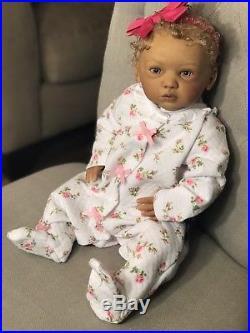 Biracial Tan ethnic Girl reborn Baby Doll Maike sculpt OOAK Gudrun Legler