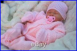 Black Friday Reborn Doll Heavy Girl Fake Baby Bald Pink Knitted Outfit S 016