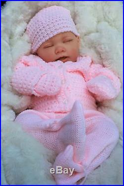 BUTTERFLY BABIES REBORN BABY GIRL DOLL PINK KNITTED SPANISH OUTFIT E112
