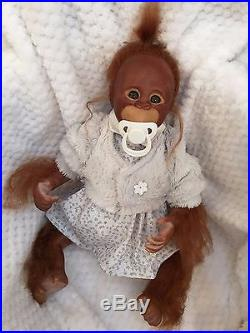 Cherish Dolls Uk Reborn Baby Binki Girl Orangutan Nappy Magnetic Rooted Hair