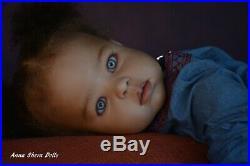 Ethnic AA black biracial Reborn baby toddler lifelike art doll Katie lIIORA