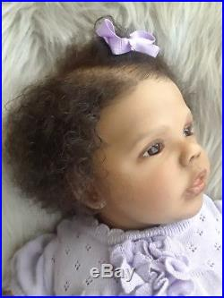 Ethnic Biracial AA Reborn Baby Doll Sherry by Natali Blick