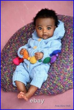 Ethnic Reborn lifelike black baby boy art doll by prototype artist Anna Sheva