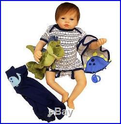Full Body silicone reborn Baby Boy Doll 22 soft vinyl Lifelike Dolls Clothes