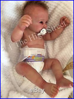 Full Vinyl Reborn Doll Baby Boy Big Newborn Size Bruno 22 Rooted Hair Heartbeat
