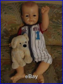 GUC 25 Adorable Vintage Vinyl BYE BYE BABY DOLL Posable Ideal Playpal + puppy