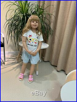 Huge Standing Reborn Toddler Dolls 39inch Blond Hair Reborn Baby Dolls Big Girls