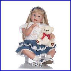 Lifelike 28 Adorable Reborn Toddler Baby Dolls Soft Silicone Girl Blonde Hair