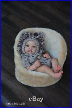 Lifelike Ethnic biracial Reborn baby art doll by Prototype artist Anna Sheva