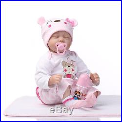 Lifelike Handmade Sleeping Baby Reborn Girl Doll 22 Silicone Vinyl & Pacifier