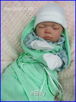 Lifelike newborn reborn baby girl doll, Little Apple 18 sleeping closed eyes