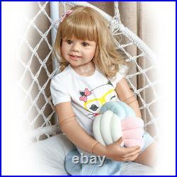 Masterpiece Doll Standing Reborn Baby Dolls Blonde Hair Real Life Reborn Toddler