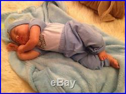 Monroe kit by Sandy Faber Reborn Baby Doll Sleeping Boy Belly Plate Painted Hair