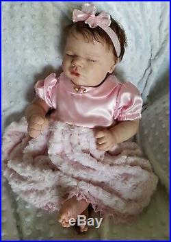 Realborn Reborn Baby Doll LAVENDER asleep Bountiful Baby Free Ship, COA & EXTRAS