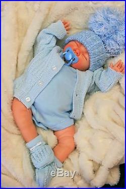 Reborn Baby Boy Doll Blue Spanish Pom Hat Dummy S998