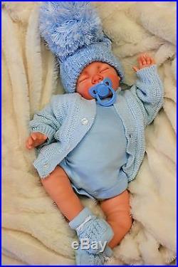Reborn Baby Boy Doll Blue Spanish Pom Pom Hat & Dummy S998