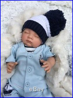 Reborn Baby Boy Doll Nautical 3 Piece Set White Bobble Hat S