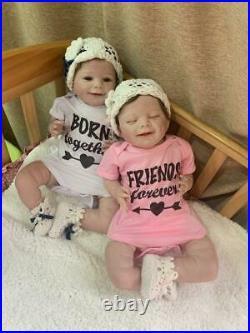 Reborn Baby Dolls Twins Boy&Girl Soft Silicone Vinyl 22 Real Life Baby Dolls
