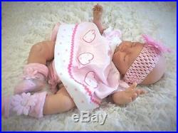 Reborn Baby Girl Doll Floppy, Feels Real To Hold Pink Spot Dress S