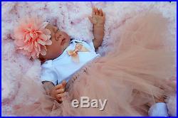 Reborn Baby Girl Doll Peach Tutu Sleeping Baby Sofia S144
