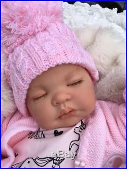 Reborn Baby Girl Doll Pink Unicorn Romper Soanish Pom Pom Hat M