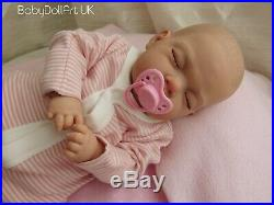 Reborn Baby Girl Doll, Sleeping little newborn girl Flora BabyDollArtUK