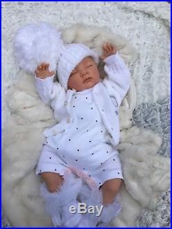 Reborn Baby Girl Doll White Spot Romper Spanish Hat And Tutu Socks S