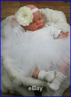 Reborn Baby Girl Doll White Tutu Sleeping Baby Molly