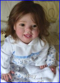Reborn Baby doll Amelia, Big Toddler 10 months old. Open eyes. Micro rooted hair