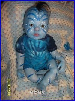 Reborn Blue Avatar Alien Fantasy Mythical Baby Artist Doll Vinyl Newborn