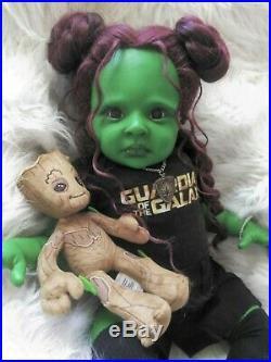 Reborn Fantasy Art Doll Baby Gamora 24'' OOAK, Ready to go Home
