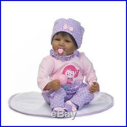 Reborn Real Baby Dolls Girls Black Soft Vinyl Silicone Newborn Lifelike 22 Inch