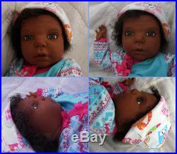 Reborn Realistic Lifelike ethnic AA black Biracial Latino newborn baby girl doll